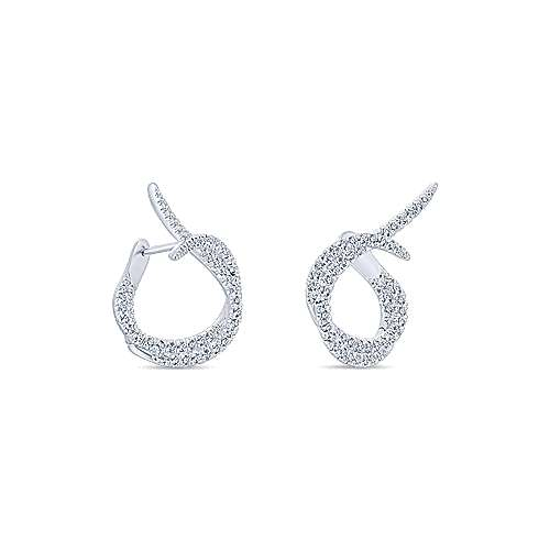 18k White Gold Diamond Intricate Hoop Earrings angle 3