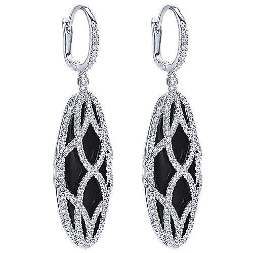 18k White Gold Diamond Onyx Drop Earrings angle 2
