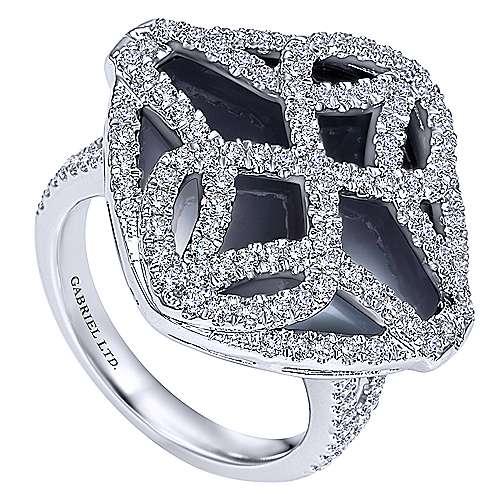 18k White Gold Diamond Onyx Fashion Ladies
