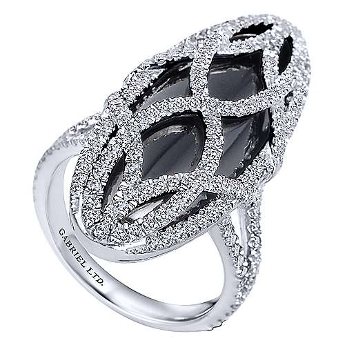 18k White Gold Diamond Onyx Fashion Ladies