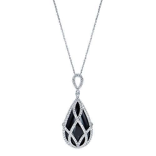 18k White Gold Diamond Onyx Fashion
