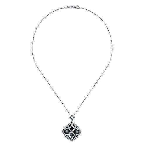 18k White Gold Diamond Onyx Fashion Necklace angle 2