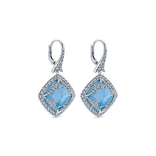 18k White Gold Diamond Rock Crystal&white Mother Pearl&turquoise Drop Earrings angle 2