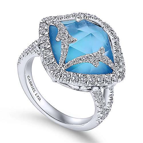 18k White Gold Diamond Rock Crystal&white Mother Pearl&turquoise Fashion Ladies