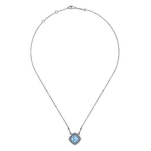 18k White Gold Diamond Rock Crystal&white Mother Pearl&turquoise Fashion Necklace angle 2