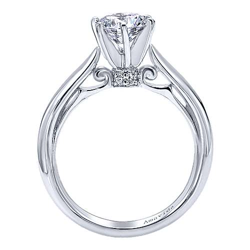 18k White Gold Diamond Solitaire Engagement Ring angle 2