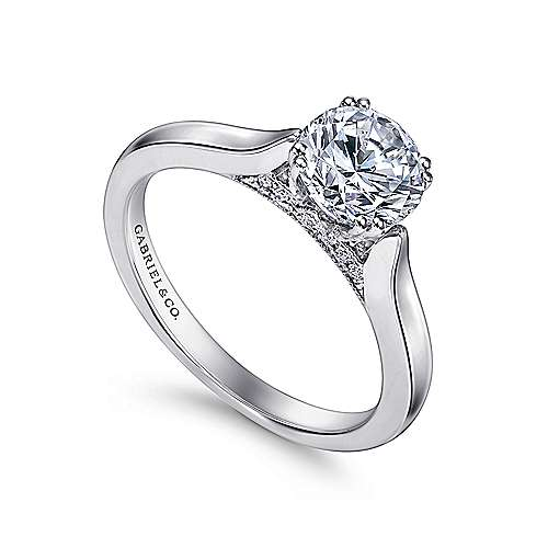 18k White Gold Diamond Solitaire Engagement Ring angle 3