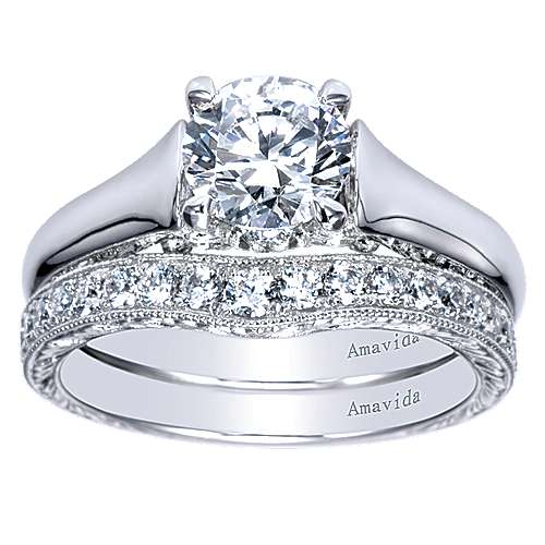 18k White Gold Diamond Solitaire Engagement Ring angle 4