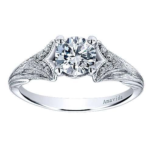 18k White Gold Diamond Split Shank Engagement Ring angle 5