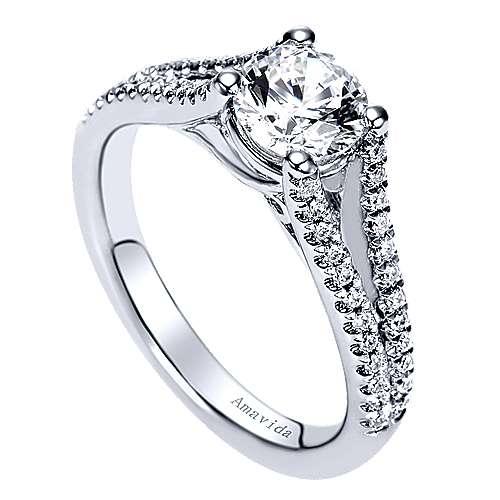 18k White Gold Diamond Split Shank Engagement Ring angle 3