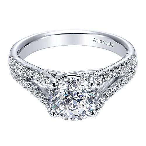Gabriel - 18k White Gold Round Split Shank Engagement Ring
