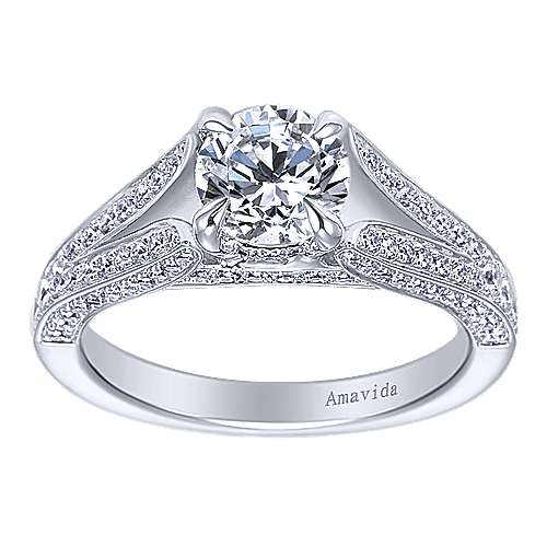 18k White Gold Diamond Split Shank Engagement Ring angle 5