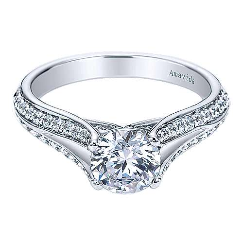18k White Gold Diamond Split Shank Engagement Ring angle 1