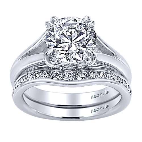 18k White Gold Diamond Split Shank Engagement Ring angle 4