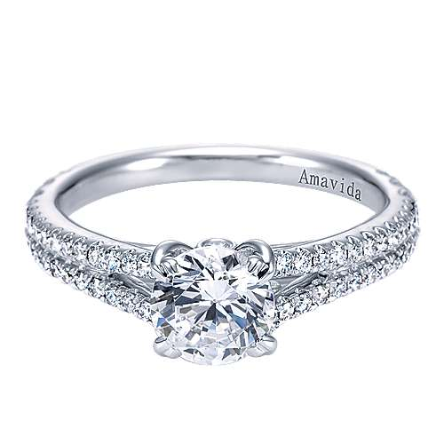 18k White Gold Diamond Split Shank