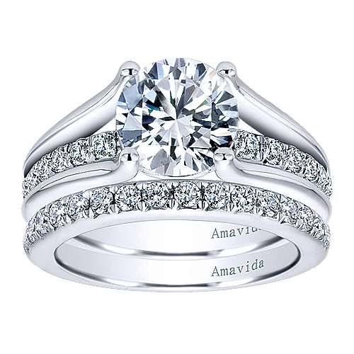 18k White Gold Diamond Split Shank Engagement Ring angle 4