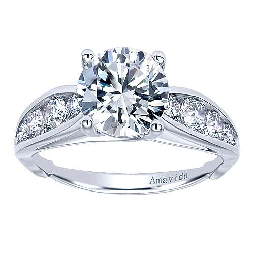 18k White Gold Diamond Straight Engagement Ring angle 5