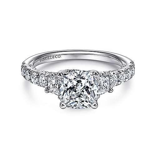 Gabriel - 18k White Gold Cushion Cut Straight Engagement Ring