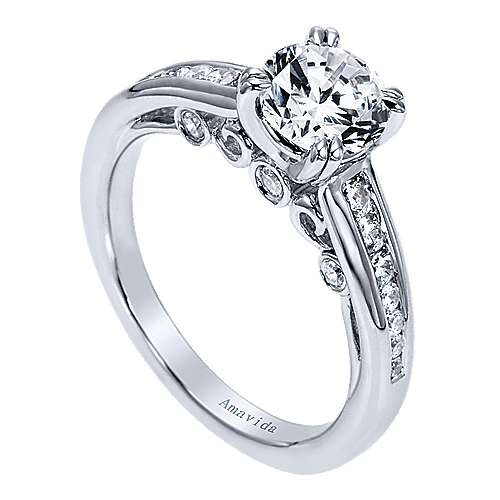 18k White Gold Diamond Straight Engagement Ring angle 3