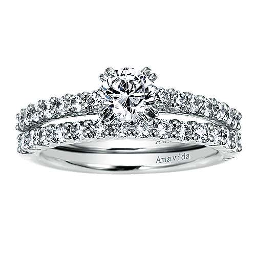 18k White Gold Diamond Straight Engagement Ring angle 4