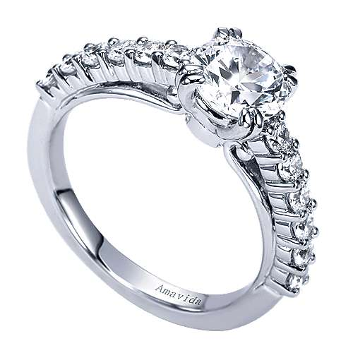 18k White Gold Diamond Straight Engagement Ring angle 3