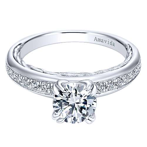 18k White Gold Round Straight
