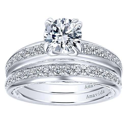 18k White Gold Diamond Straight Engagement Ring angle 4