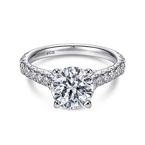 Gabriel - 18k White Gold Contemporary Engagement Ring