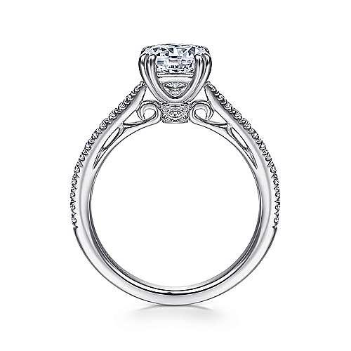 18k White Gold Diamond Straight Engagement Ring angle 2