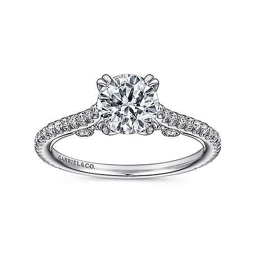 18k White Gold Diamond Straight Engagement Ring angle 5