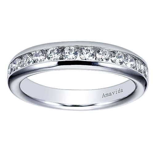 18k White Gold Diamond Straight Wedding Band angle 5