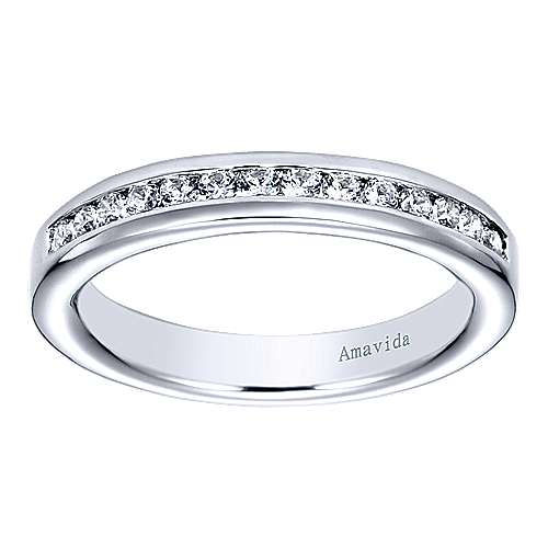 18k White Gold Diamond Straight Wedding Band angle 5