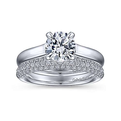 18k White Gold Diamond Straight Wedding Band angle 4