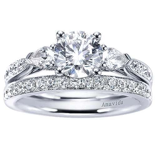 18k White Gold Diamond Straight Wedding Band angle 4