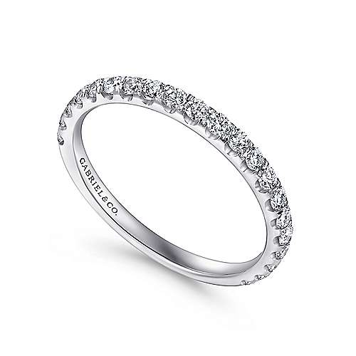 18k White Gold Diamond Straight Wedding Band angle 3