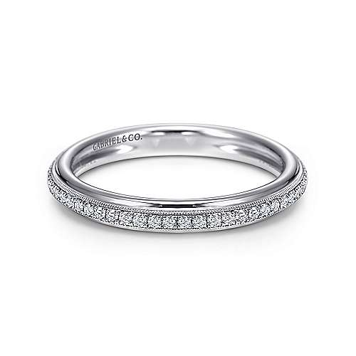 Gabriel - 18k White Gold Victorian Straight Wedding Band