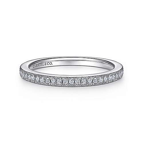18k White Gold Diamond Straight Wedding Band angle 1