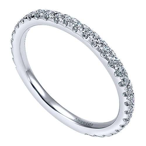 18k White Gold Diamond Straight Wedding Band angle 3