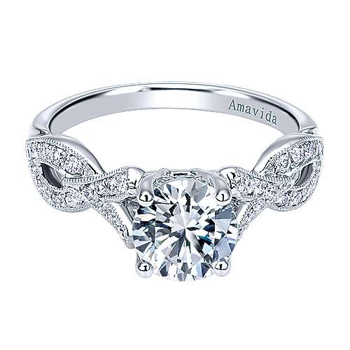 18k White Gold Diamond Twisted Engagement Ring angle 1