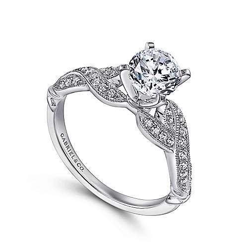 18k White Gold Diamond Twisted Engagement Ring angle 3