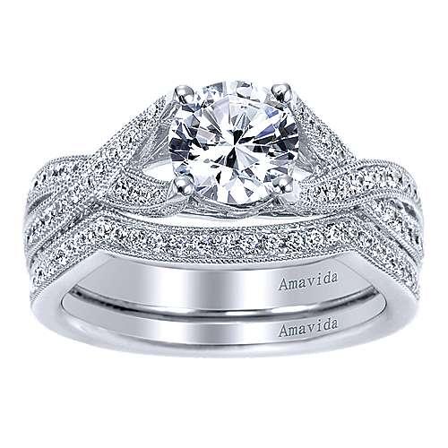 18k White Gold Diamond Twisted Engagement Ring angle 4