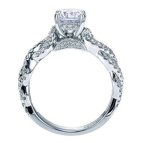 18k White Gold Diamond Twisted Engagement Ring angle 2
