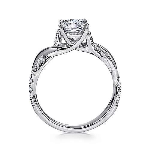 18k White Gold Diamond Twisted Engagement Ring angle 2