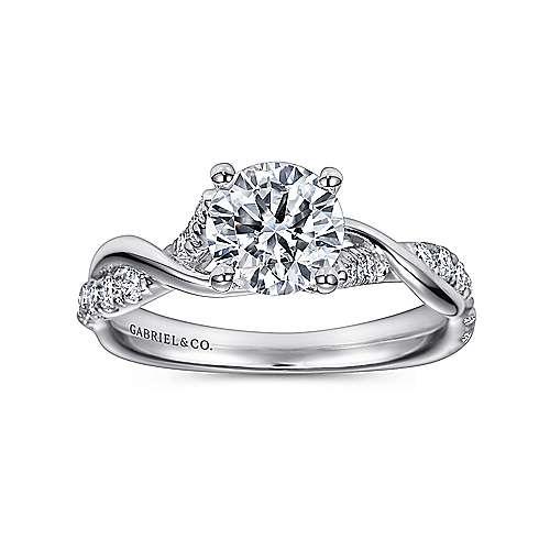 18k White Gold Diamond Twisted Engagement Ring angle 5