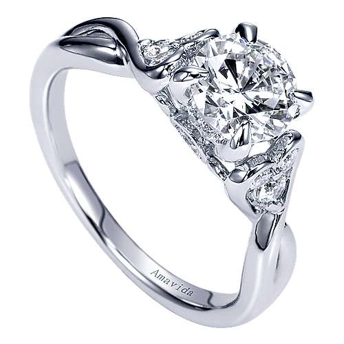 18k White Gold Diamond Twisted Engagement Ring angle 3