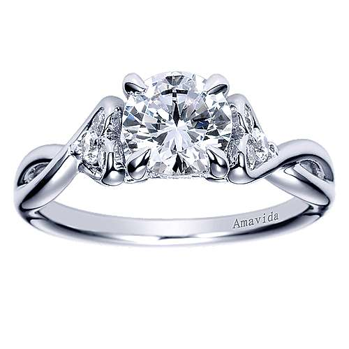 18k White Gold Diamond Twisted Engagement Ring angle 5