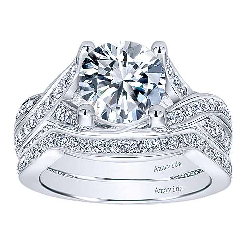 18k White Gold Diamond Twisted Engagement Ring angle 4