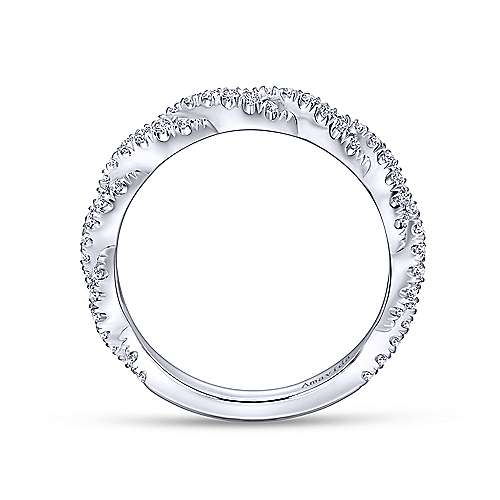 18k White Gold Diamond Twisted Wedding Band angle 2
