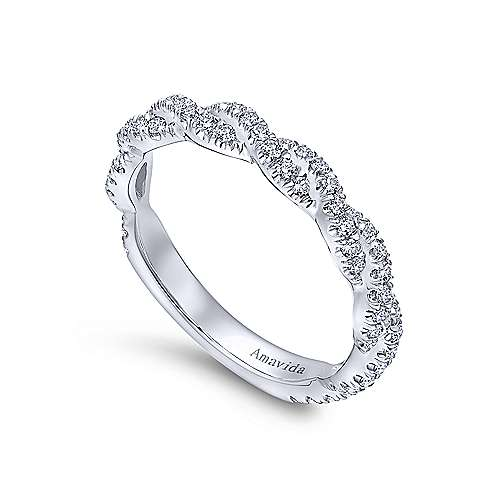 18k White Gold Diamond Twisted Wedding Band angle 3