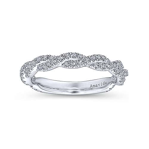 18k White Gold Diamond Twisted Wedding Band angle 5